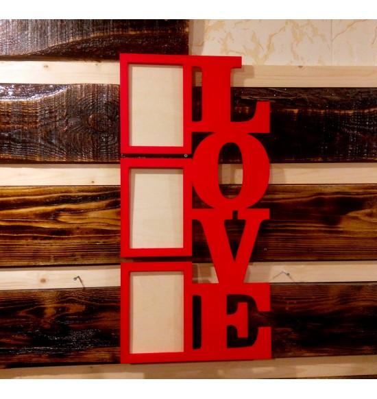 """Фоторамка """"LOVE"""" на три рамки"""
